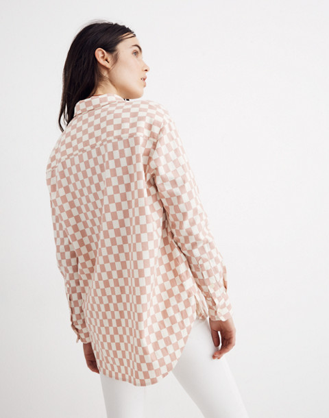 Flannel Oversized Ex-Boyfriend Shirt in Checkerboard in medium checker pale oyster image 3