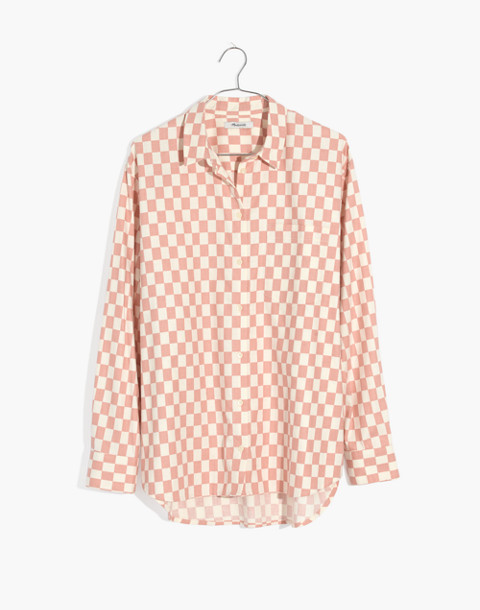 Flannel Oversized Ex-Boyfriend Shirt in Checkerboard in medium checker pale oyster image 4