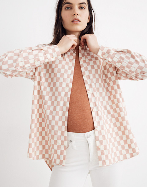 Flannel Oversized Ex-Boyfriend Shirt in Checkerboard in medium checker pale oyster image 1