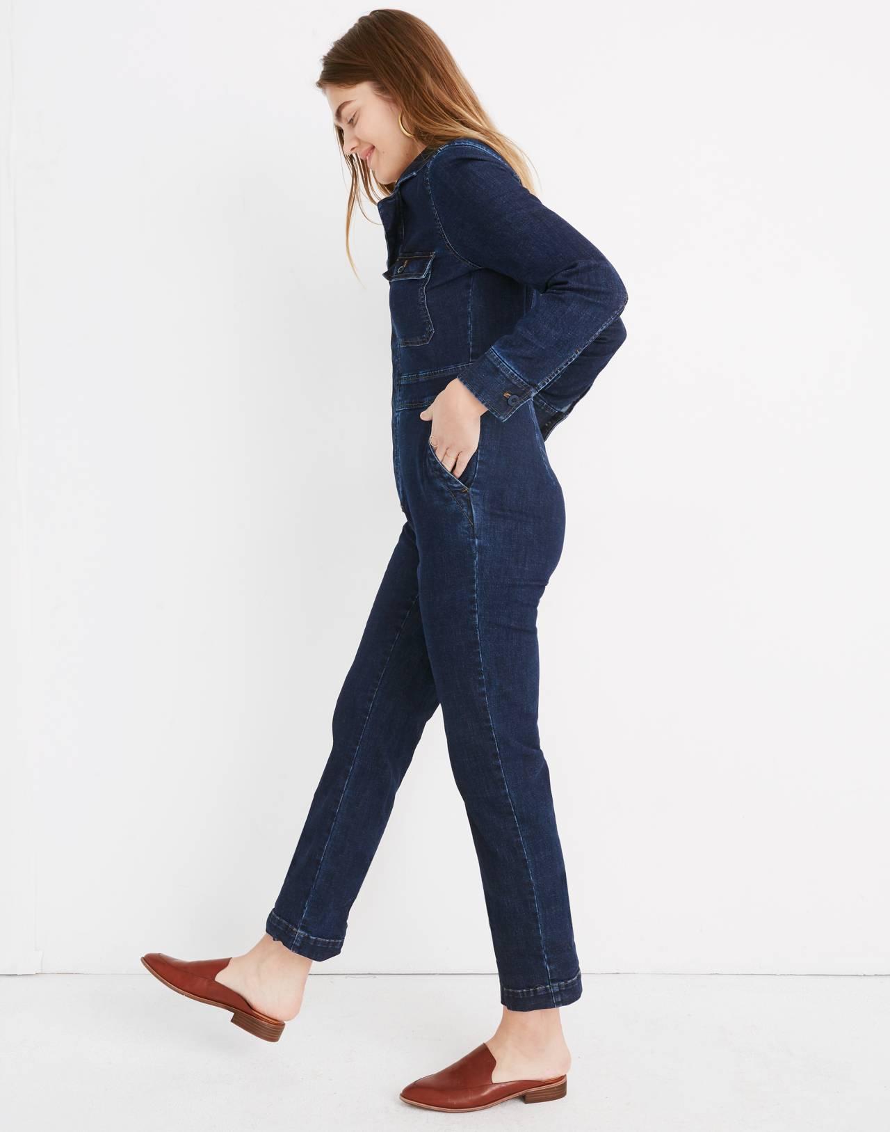 Denim Slim Coverall Jumpsuit in fanning wash image 2