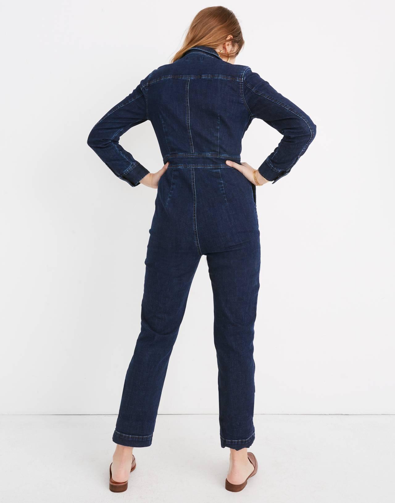 Denim Slim Coverall Jumpsuit in fanning wash image 3