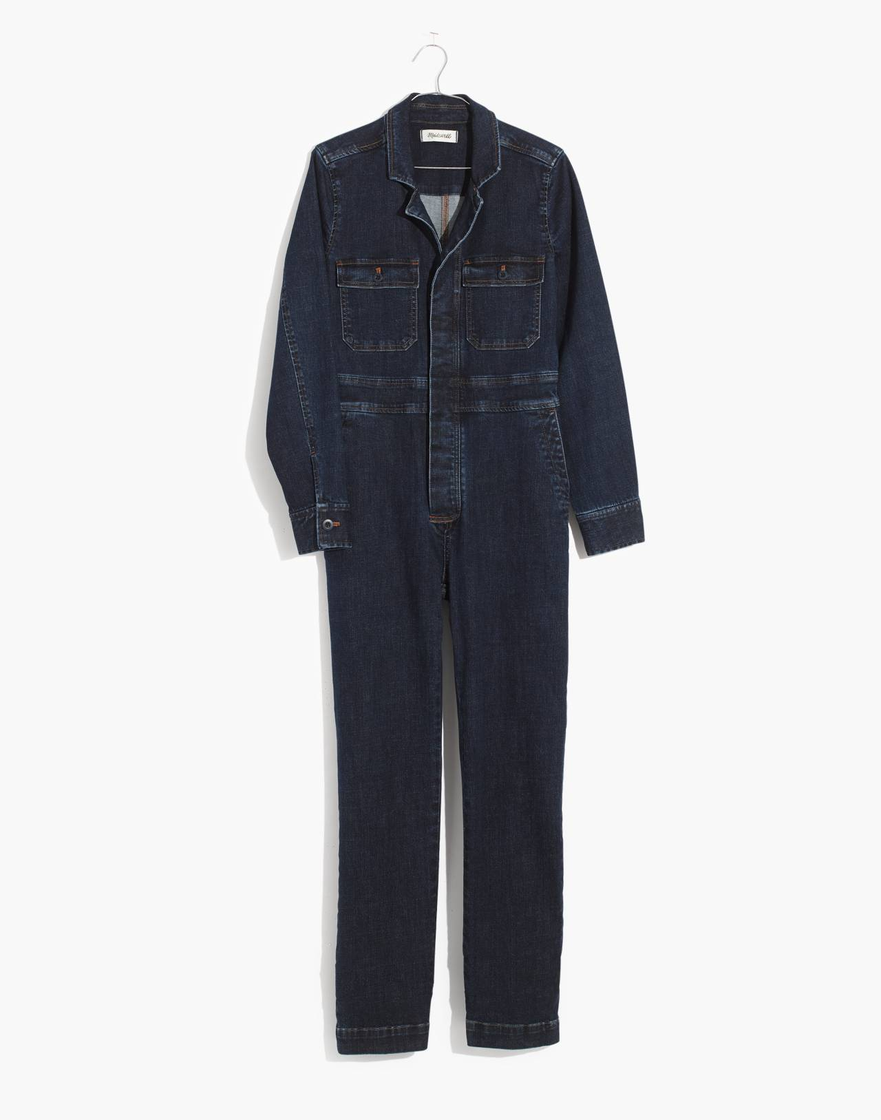 Denim Slim Coverall Jumpsuit in fanning wash image 4