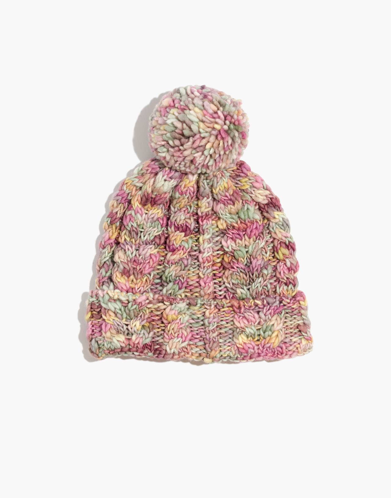 Madewell x Manos Del Uruguay Space-Dyed Cableknit Pom-Pom Beanie in pink space image 1