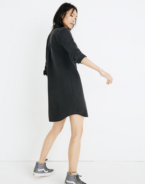 Denim Puff-Sleeve Shirtdress in Kelsey Wash in kelsey wash image 2