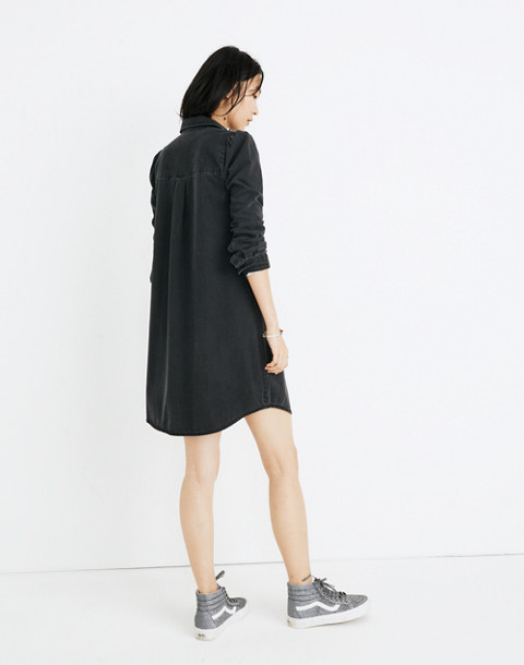 Denim Puff-Sleeve Shirtdress in Kelsey Wash in kelsey wash image 3