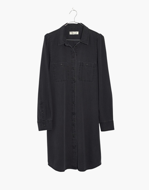 Denim Puff-Sleeve Shirtdress in Kelsey Wash in kelsey wash image 4