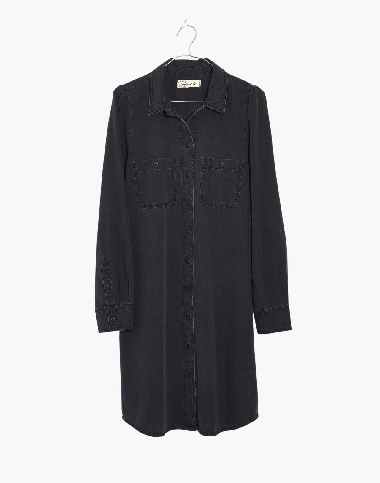 Denim Puff-Sleeve Shirtdress in Kelsey Wash in kelsey wash image 4