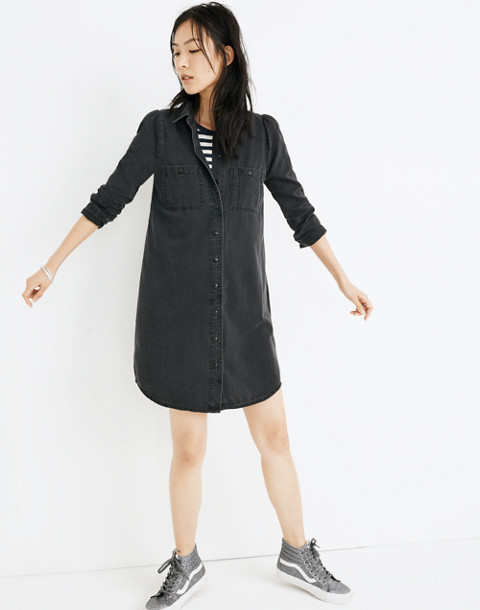 Denim Puff-Sleeve Shirtdress in Kelsey Wash in kelsey wash image 1