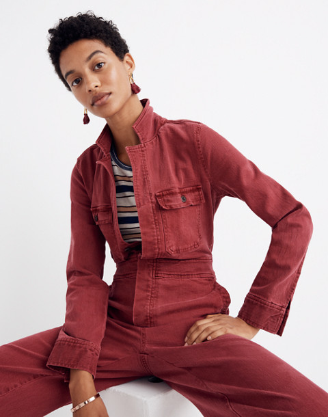 Garment-Dyed Denim Slim Coverall Jumpsuit in dusty burgundy image 2