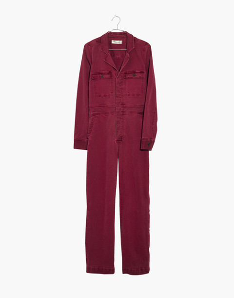 Garment-Dyed Denim Slim Coverall Jumpsuit in dusty burgundy image 4
