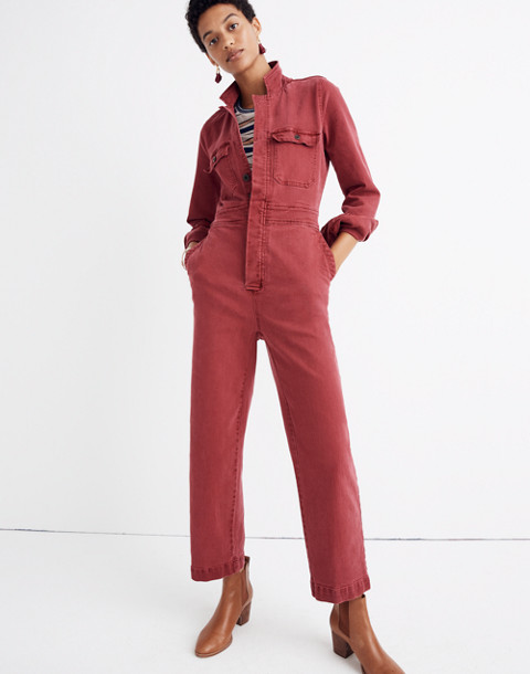 Garment-Dyed Denim Slim Coverall Jumpsuit in dusty burgundy image 1