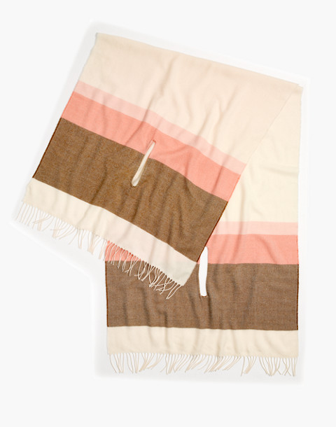 Placed Stripe Cape Scarf in antique cream multi image 2