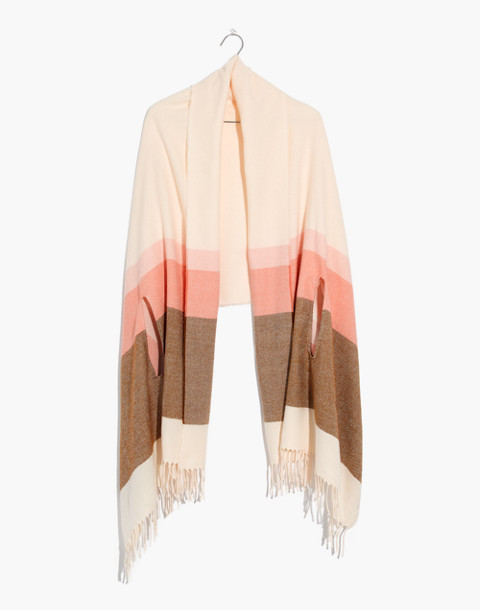 Placed Stripe Cape Scarf in antique cream multi image 1