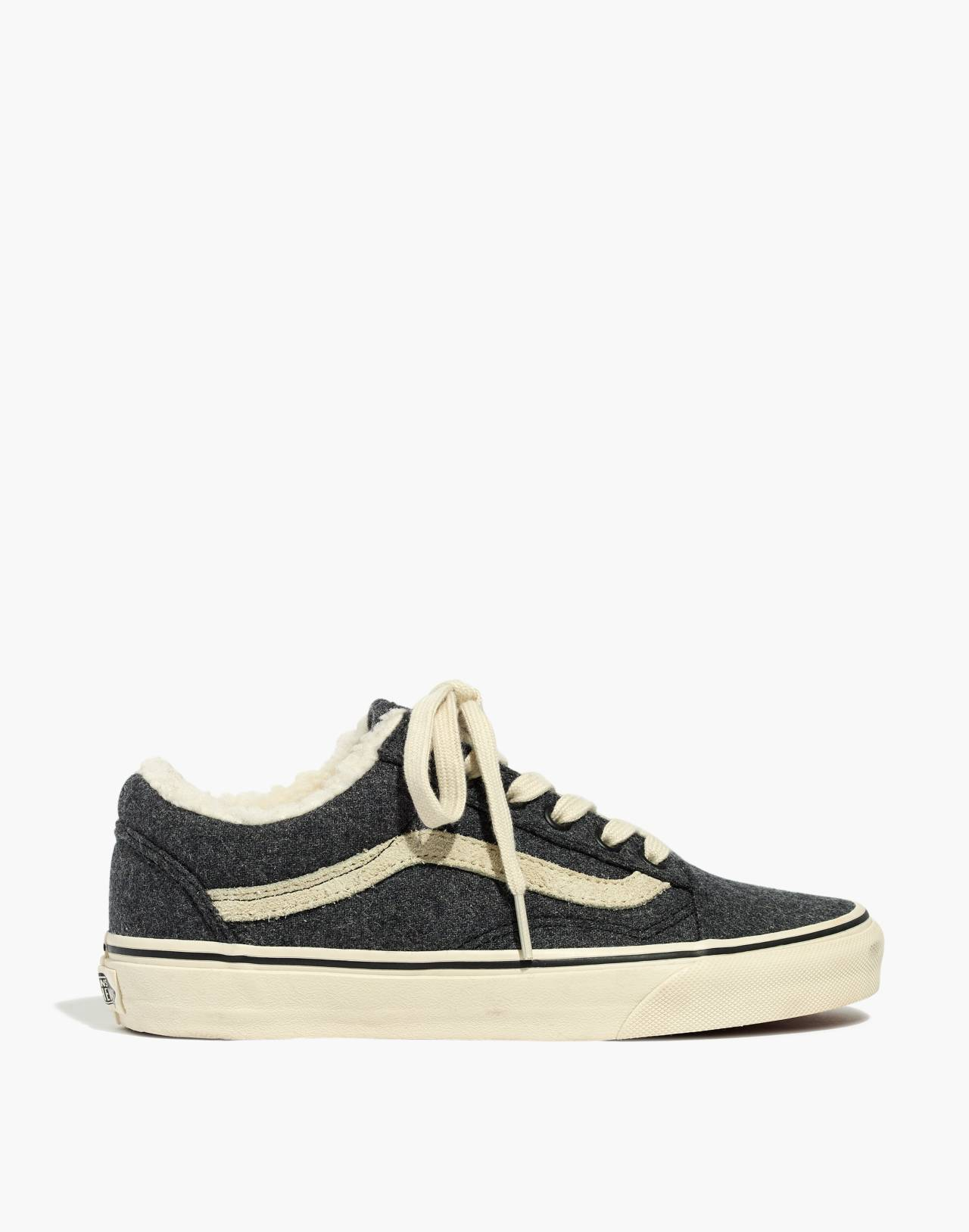 Madewell x Vans® Unisex Old Skool Lace-Up Sneakers in Flannel and Sherpa in black true white image 2