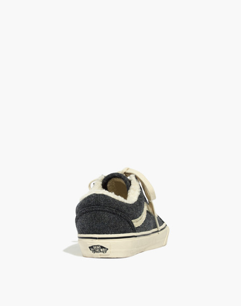 Madewell x Vans® Unisex Old Skool Lace-Up Sneakers in Flannel and Sherpa in black true white image 3