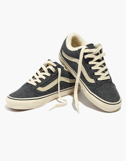 Madewell x Vans® Unisex Old Skool Lace-Up Sneakers in Flannel and Sherpa in black true white image 1