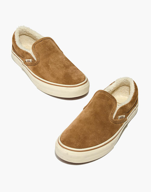 luxury aesthetic new high quality united kingdom Madewell x Vans® Unisex Slip-On Sneakers in Suede and Sherpa