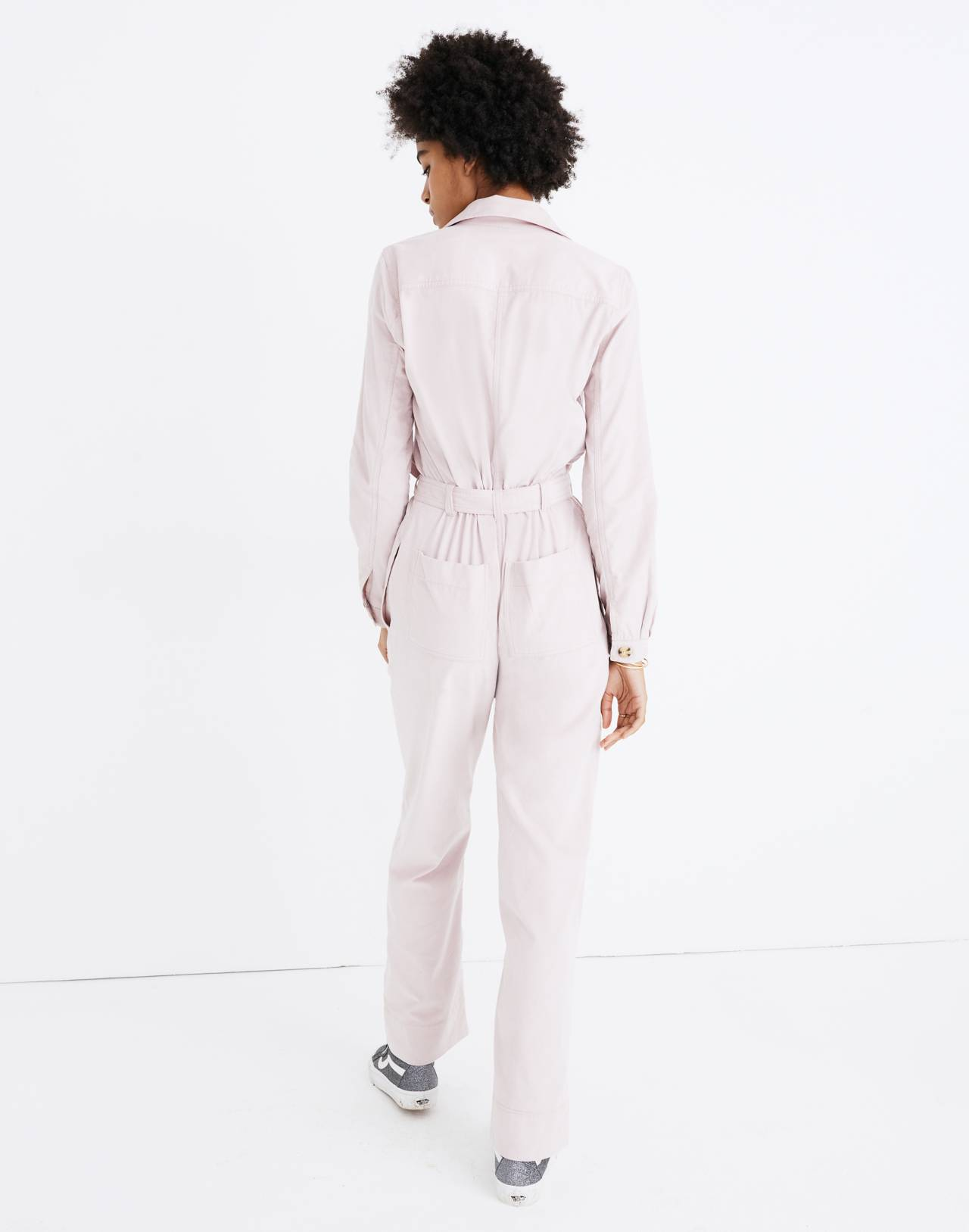 Corduroy Belted Jumpsuit in wisteria dove image 3