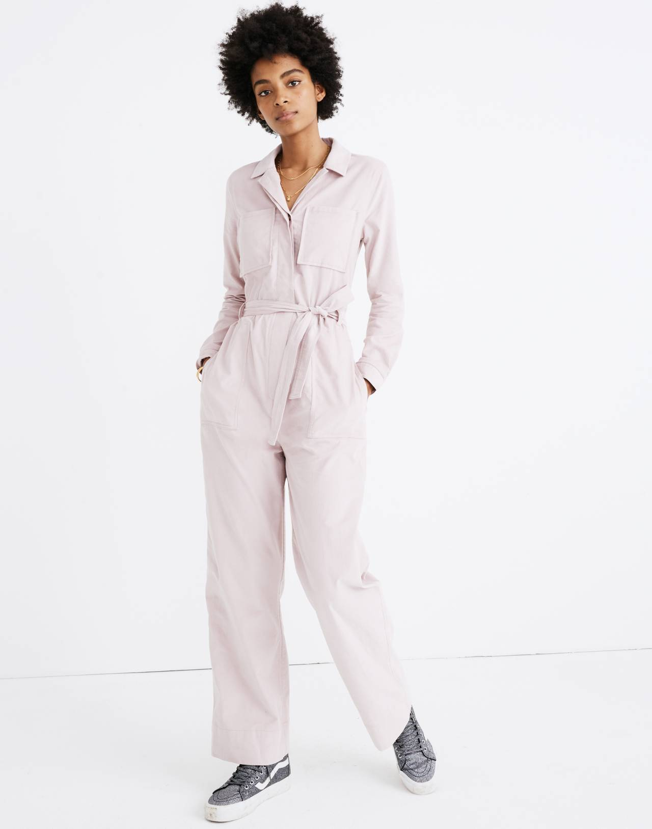 Corduroy Belted Jumpsuit in wisteria dove image 1