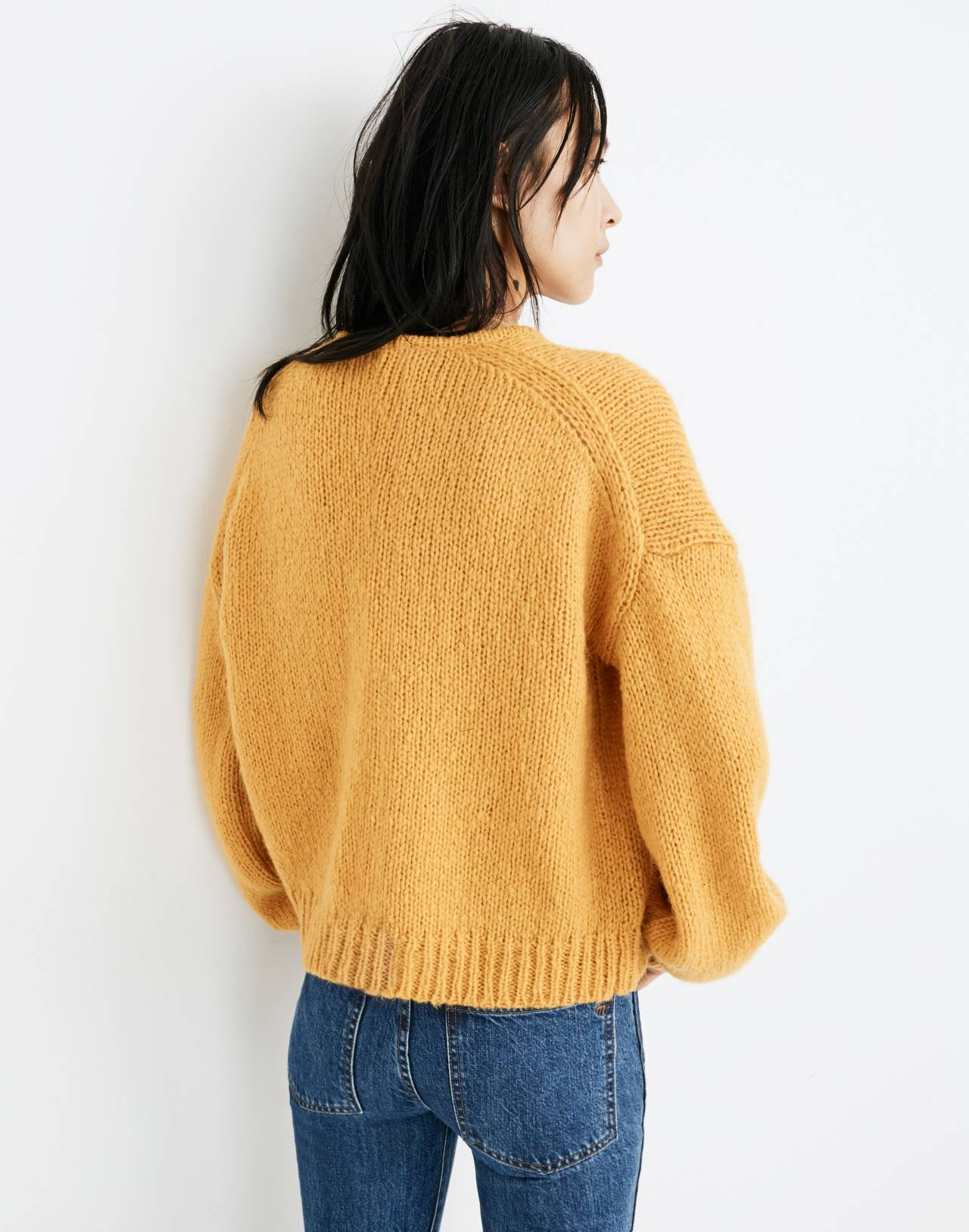 Balloon-Sleeve Pullover Sweater in antique gold image 3