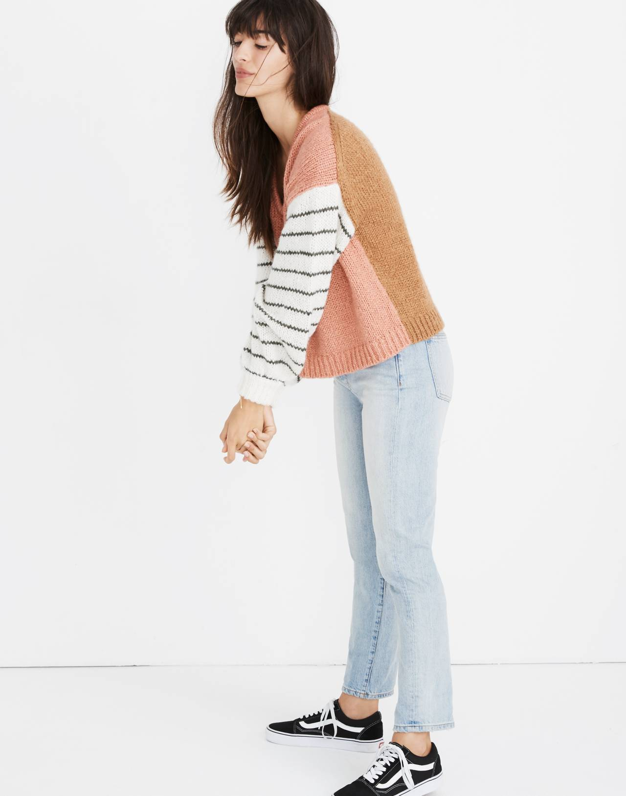 Balloon-Sleeve Pullover Sweater in Colorblock in faded coral image 2