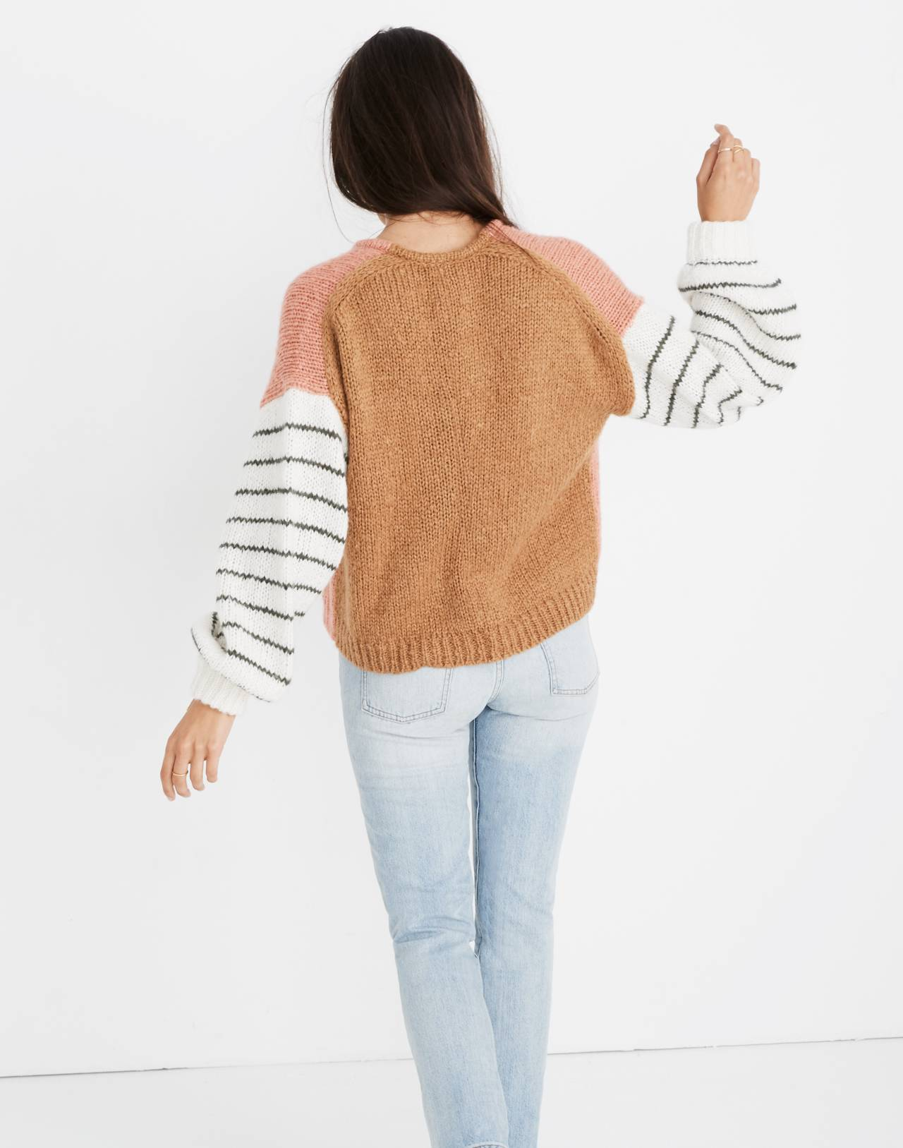 Balloon-Sleeve Pullover Sweater in Colorblock in faded coral image 3