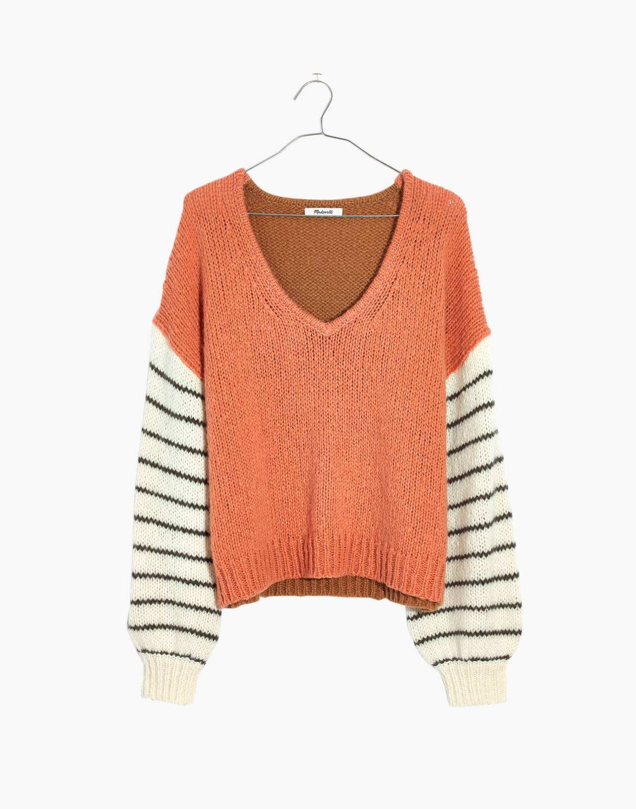 Balloon-Sleeve Pullover Sweater in Colorblock in faded coral image 4