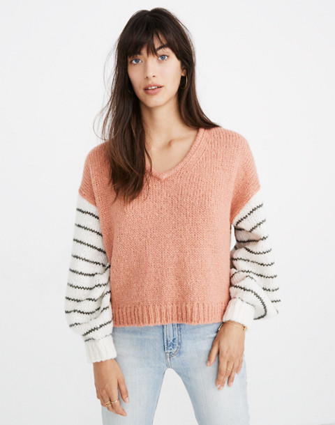 Balloon-Sleeve Pullover Sweater in Colorblock in faded coral image 1