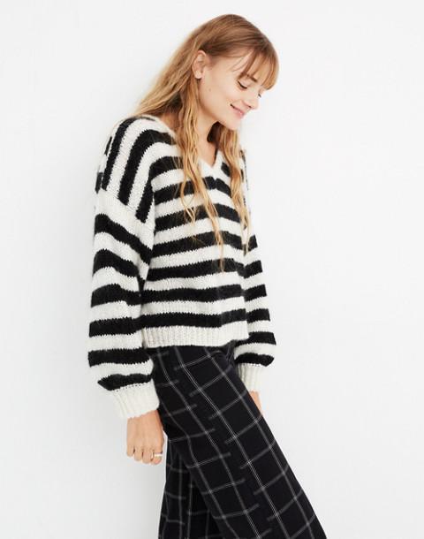 Balloon-Sleeve Pullover Sweater in Stripe in true black image 2