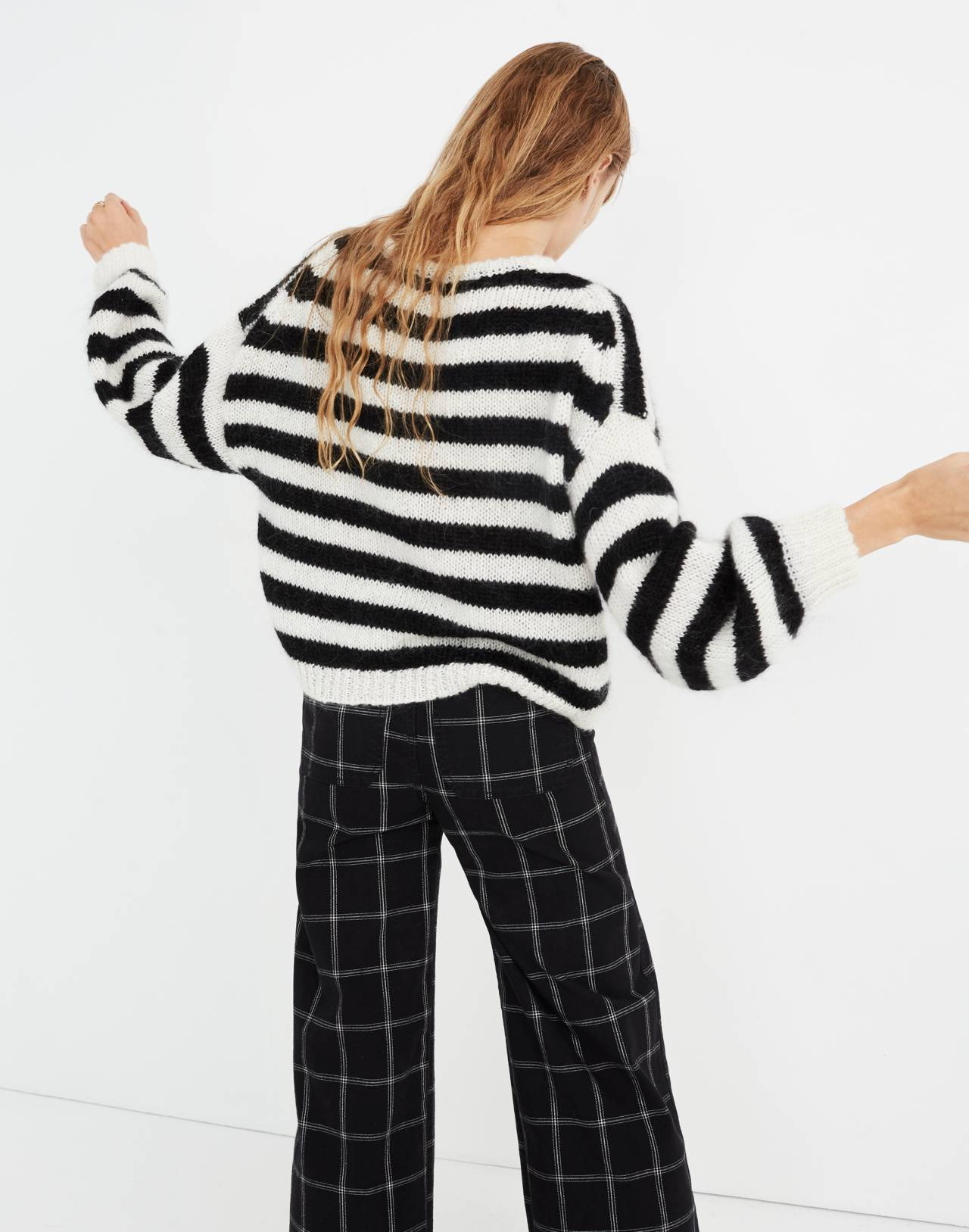 Balloon-Sleeve Pullover Sweater in Stripe in true black image 3