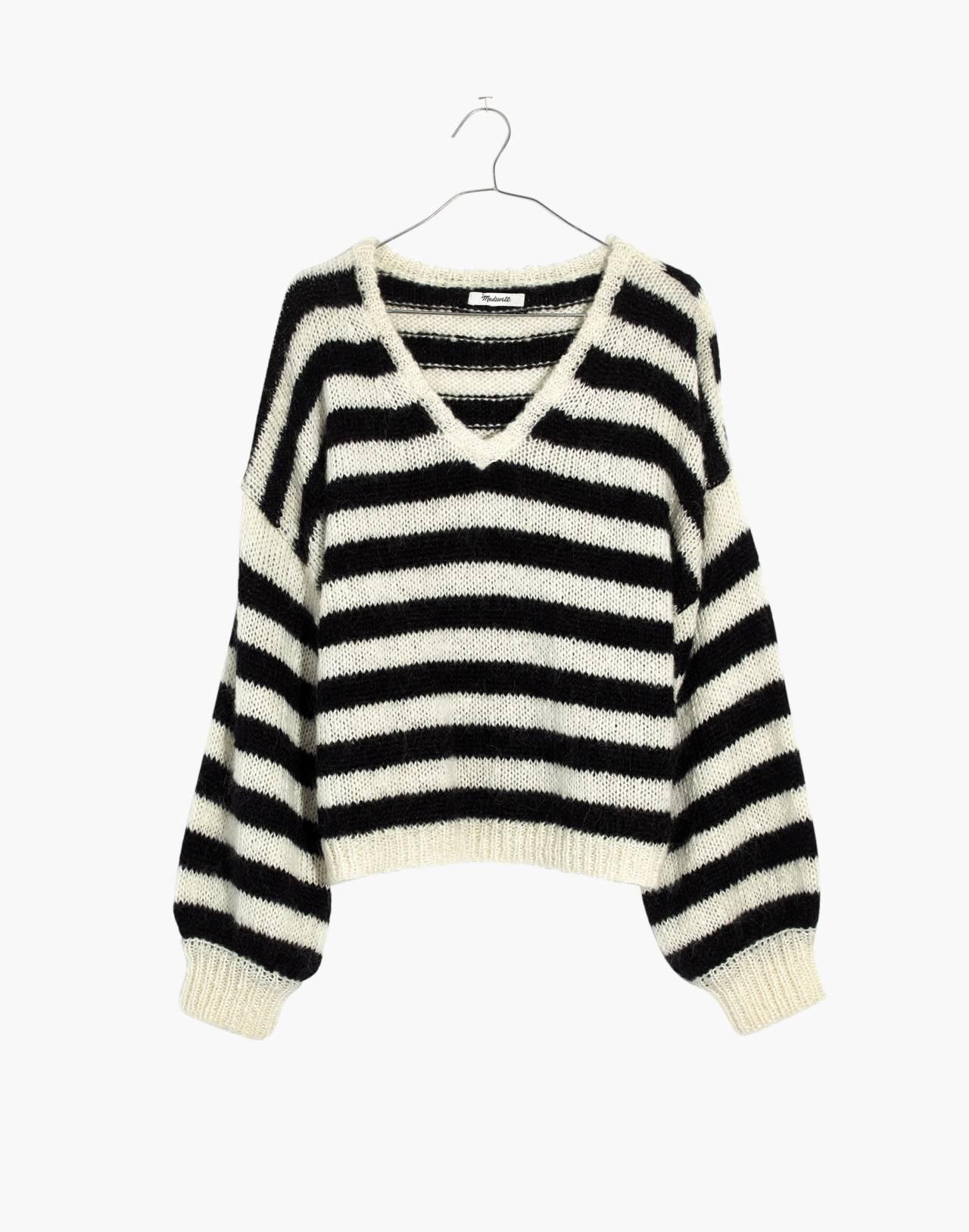 Balloon-Sleeve Pullover Sweater in Stripe in true black image 4
