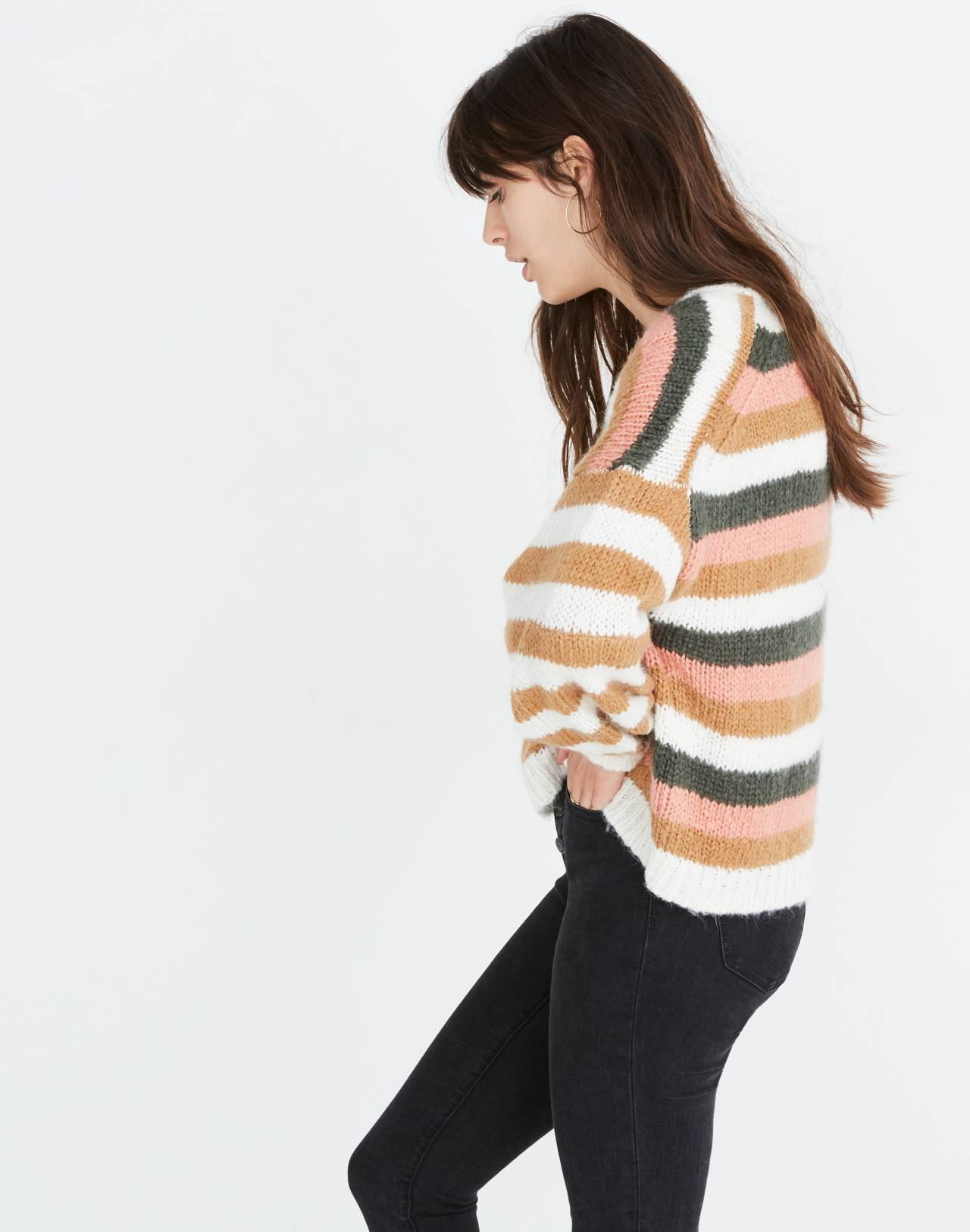 Balloon-Sleeve Pullover Sweater in Stripe Mix in pearl white image 2