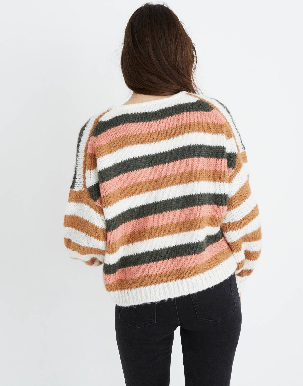 Balloon-Sleeve Pullover Sweater in Stripe Mix in pearl white image 3