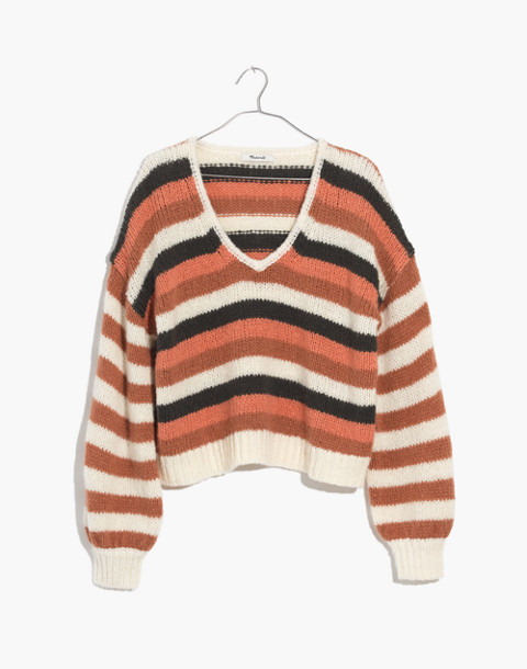 Balloon-Sleeve Pullover Sweater in Stripe Mix in pearl white image 4