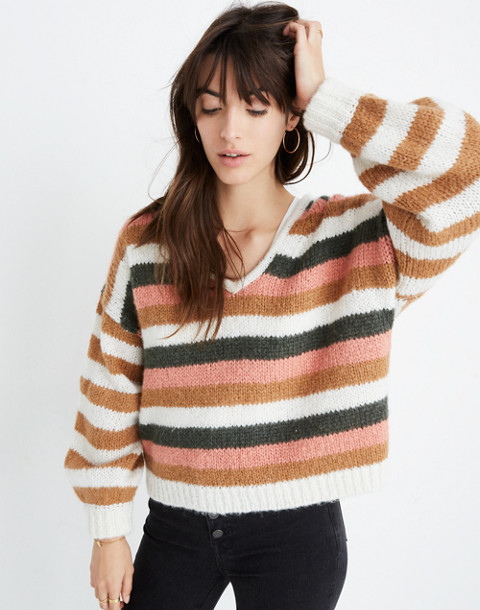 Balloon-Sleeve Pullover Sweater in Stripe Mix in pearl white image 1