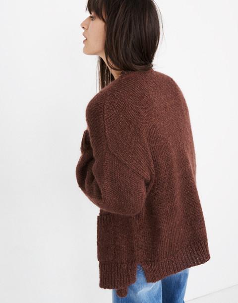 Balloon-Sleeve Cardigan Sweater in deep plum image 2