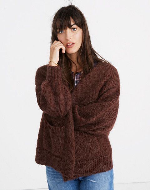 Balloon-Sleeve Cardigan Sweater in deep plum image 3