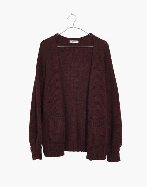 Balloon-Sleeve Cardigan Sweater in deep plum image 4