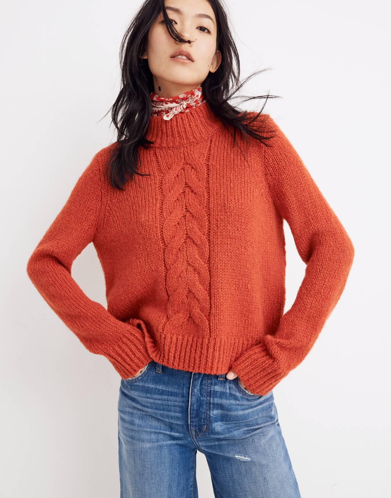 Bayfront Turtleneck Sweater in bright scarlett image 1