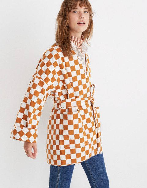 Checkerboard Kimono Wrap Jacket in small golden pecan image 2