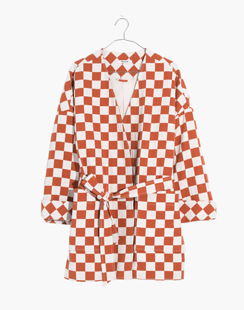 Checkerboard Kimono Wrap Jacket in small golden pecan image 4