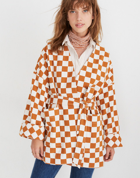 Checkerboard Kimono Wrap Jacket in small golden pecan image 1