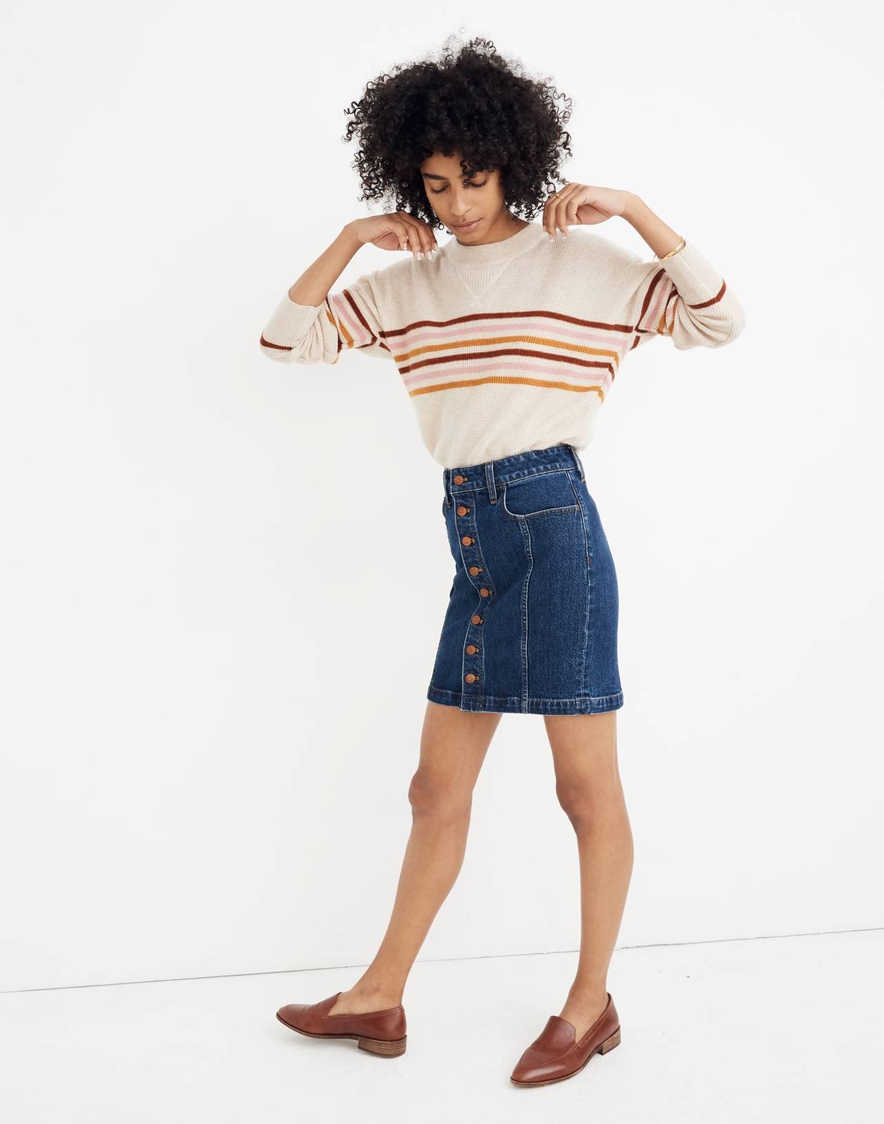 Stretch Denim Straight Mini Skirt in Pfeiffer Wash in pfeiffer image 2