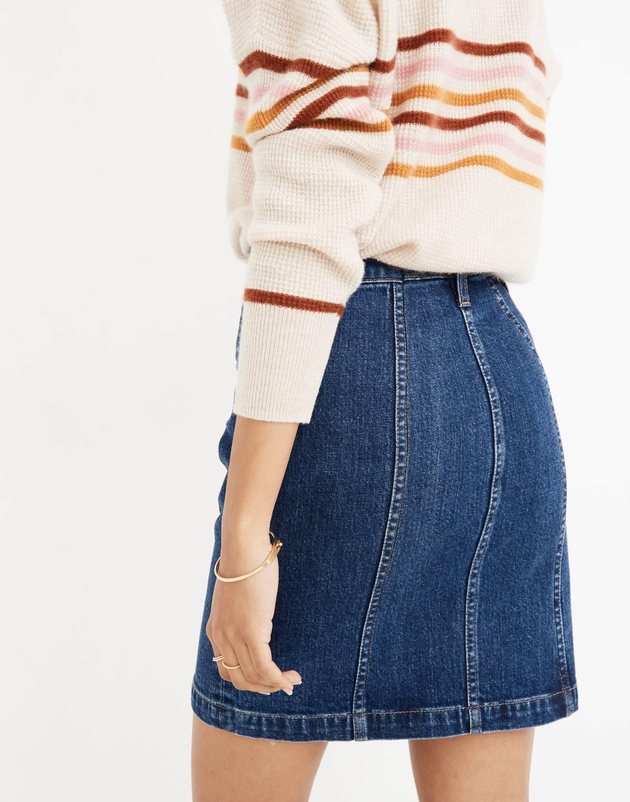 Stretch Denim Straight Mini Skirt in Pfeiffer Wash in pfeiffer image 3