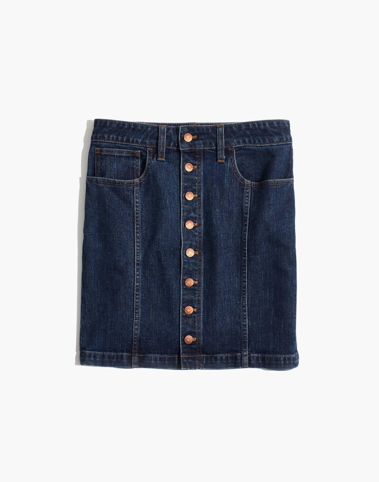 Stretch Denim Straight Mini Skirt in Pfeiffer Wash in pfeiffer image 4