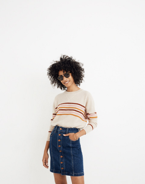 Stretch Denim Straight Mini Skirt in Pfeiffer Wash in pfeiffer image 1
