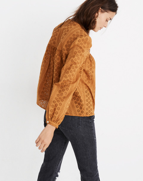 Eyelet Double-Tie Peasant Top in carrot cake image 2