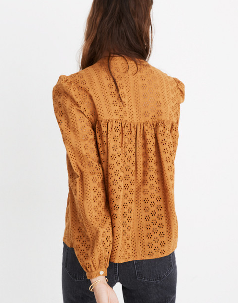 Eyelet Double-Tie Peasant Top in carrot cake image 3