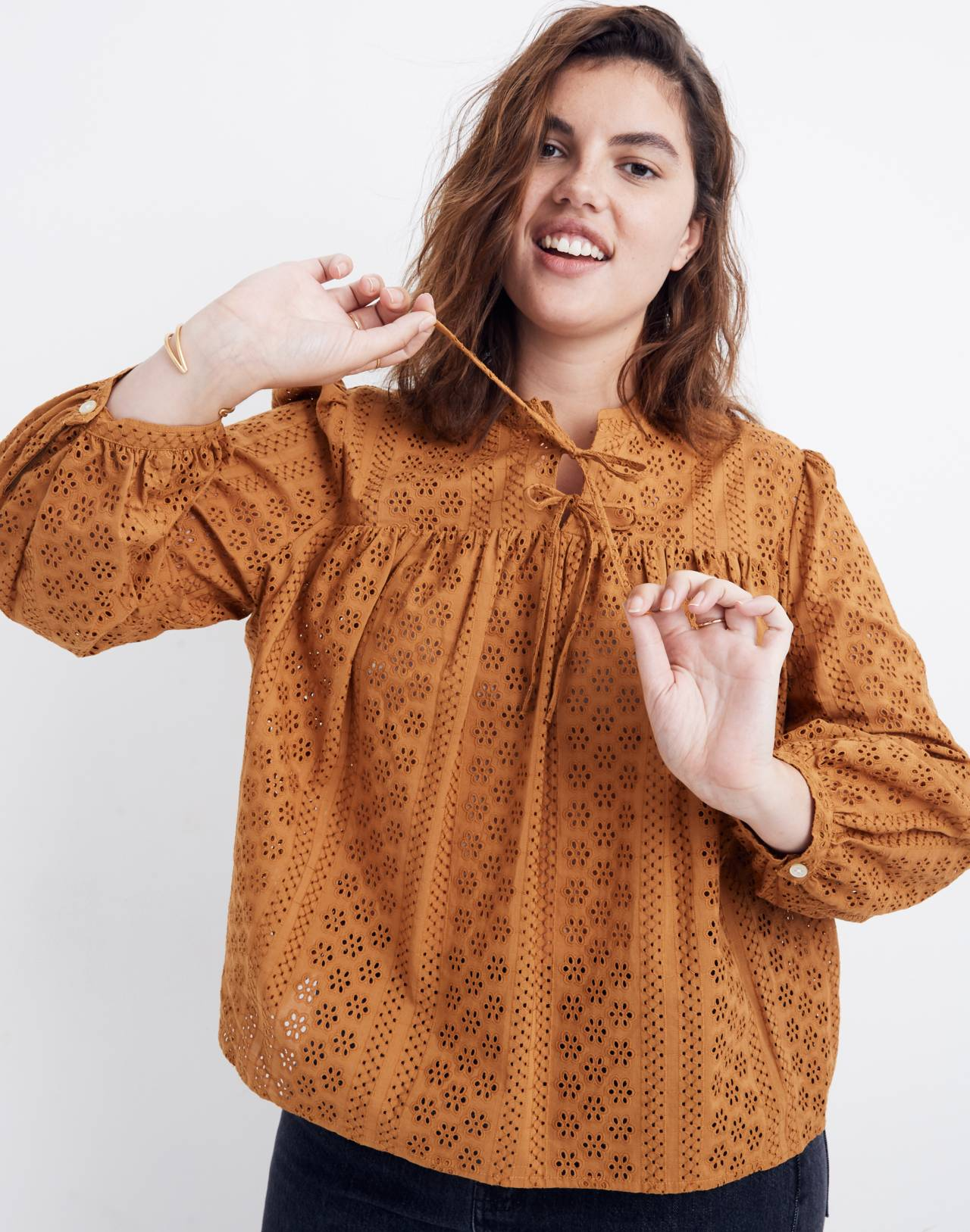 Eyelet Double-Tie Peasant Top in carrot cake image 1
