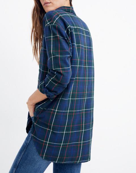 Flannel Oversized Ex-Boyfriend Shirt in Dark Plaid in gallery green image 2